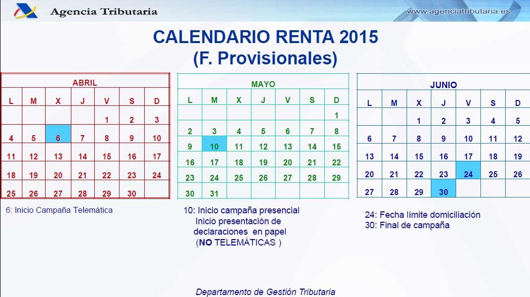 calendario renta 2015 oviedo