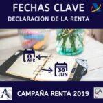 Fechas Clave Declaración de la Renta 2019