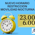 Modificación horario restricción de movilidad nocturna.